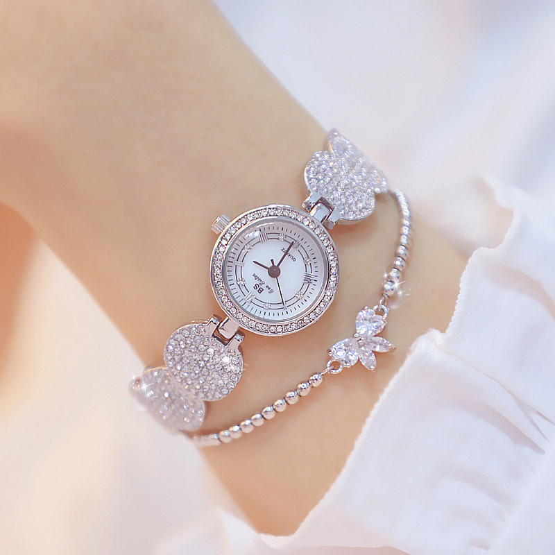 Image 5 - Women Watches Fashion Gold Ladies Diamond Stainless Steel Bracelet Wristwatches For Girl New Quartz Watch Retro Zegarki Meskie-in Women's Watches from Watches