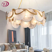 In stock modern chandelier lighting for living room new luxury round glass hanging lamp dining room bedroom light fixtures