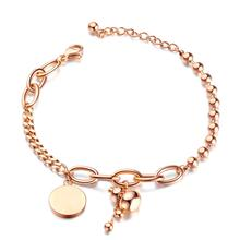 Trendy Stainless Steel Gourd Round Bracelet Bangle For Women Rose Gold Color Link Chain Cuff Hand Jewelry Gift trendy solid color nail shape cuff bracelet for women
