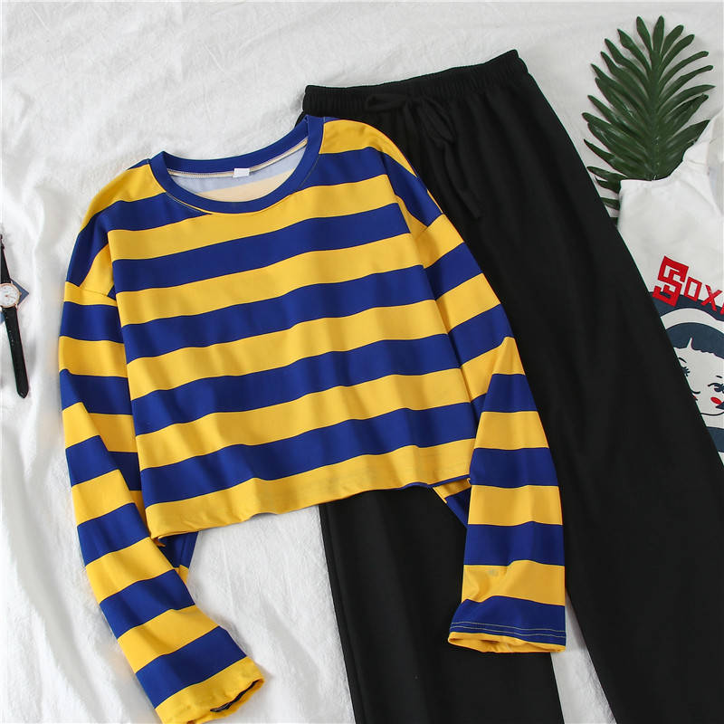 2019 Ins Autumn Ladies Two-piece Suit] Female Students Korean Wide-leg Pants + Long-sleeved Striped T-shirt