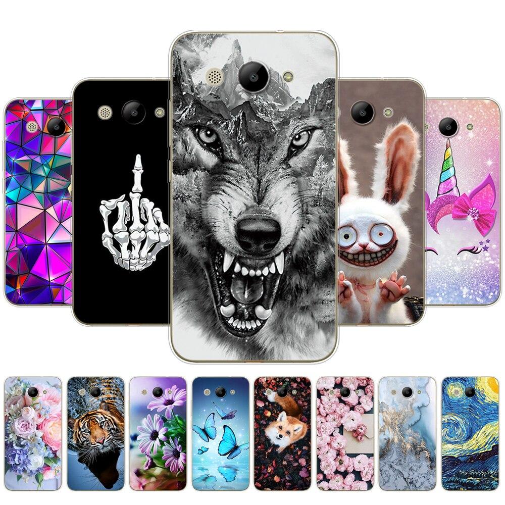 Para huawei y3 2017 caso toque macio silicone huawei y3 2017 transparente capa traseira 5.0 tttpu y 3 2017 telefone casos de volta gato animal