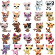 LPS chat Rare animalerie jouets Stands cheveux courts chat Original chaton Husky chiot chien renard mignon Animal vieux Collection Figures(China)