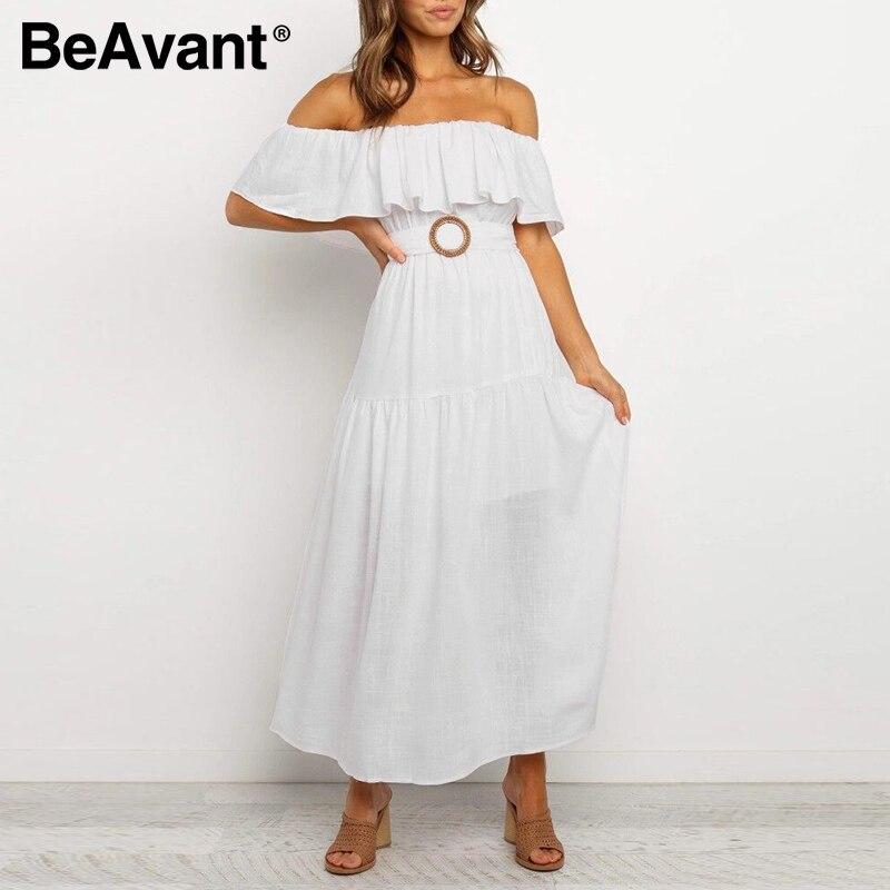 BeAvant Solid White Boho Long Dress Women 2020 Off Shoulde Sexy Dresses Summer High Waist Female Beach Maxi Dress Plus Size