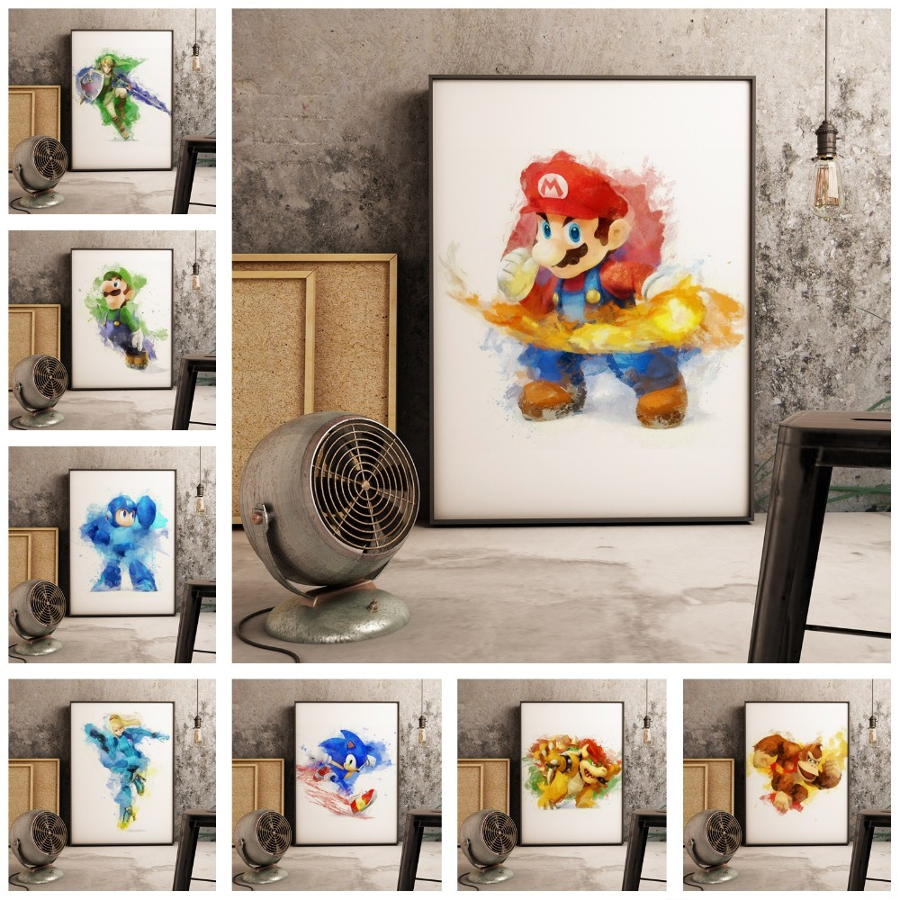 Super Mario PS4 Game Nordic Wall Art Canvas Cartoon Art Nordic Decoration Nursery Kids Room canvas painting image
