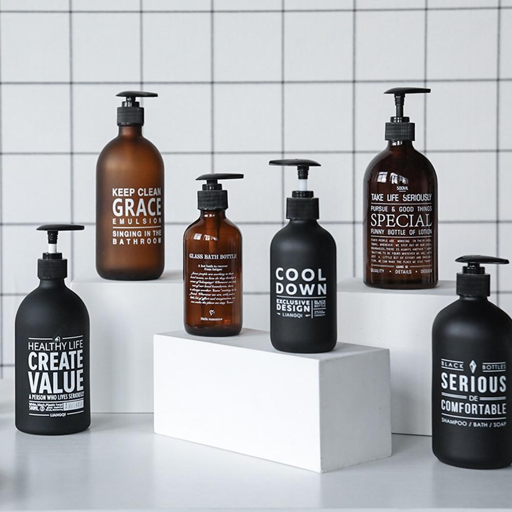 250ml 500ml Bathroom Soap Dispenser Shampoo Hand Washing Bottle Liquid Soap Conditioner Glass Storage Bottle Black Brown