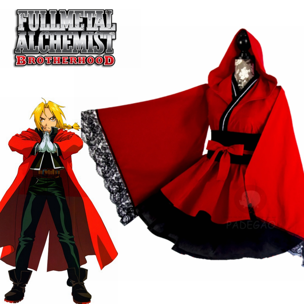 Anime Fullmetal Alchemist Edward Elric Red Women Lolita Dress Kimono Cosplay Costume Cutome-Made Free Shipping