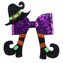 5 inch Handmade Fashion Christmas Cheer Bow For Sweet Baby Children Girls Synthetic Leather glitter purple Hair bow