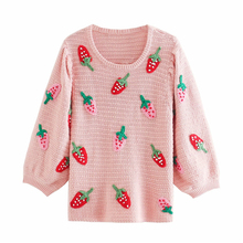 Sweet women pink sweater 2020 fashion ladies elegant strawberry embroidery sweater female chic loose o-neck tops
