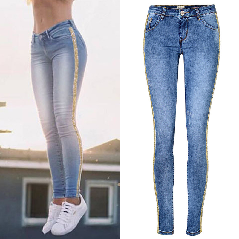 Stretch Skinny Sequin Jeans Women Casual PENCIL Pants Low Waist Denim Trousers Streetwear Boyfriend Basics Classic Plus Size