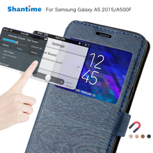 Pu Leather Case For Samsung Galaxy A5 2015 Flip Case For Samsung Galaxy Grand Prime View Window Book Case Silicone Back Cover protective pu leather plastic case cover w visual window for samsung galaxy s5 black