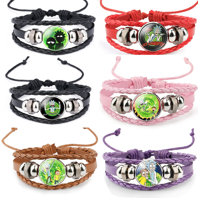 Anime Rick And Morty Bracelet Cosplay Accessories Jewelry Leather Cartoon Bracelet Armband Gift Fairy Tail Handwear Fr Women Man