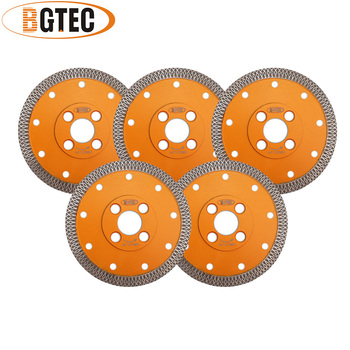 BGTEC 5pcs Dia 4.5inch/115mm Hot pressed X Mesh Turbo Diamond Saw blade Diamond height 10MM Cutting Disc for Ceramic Tile