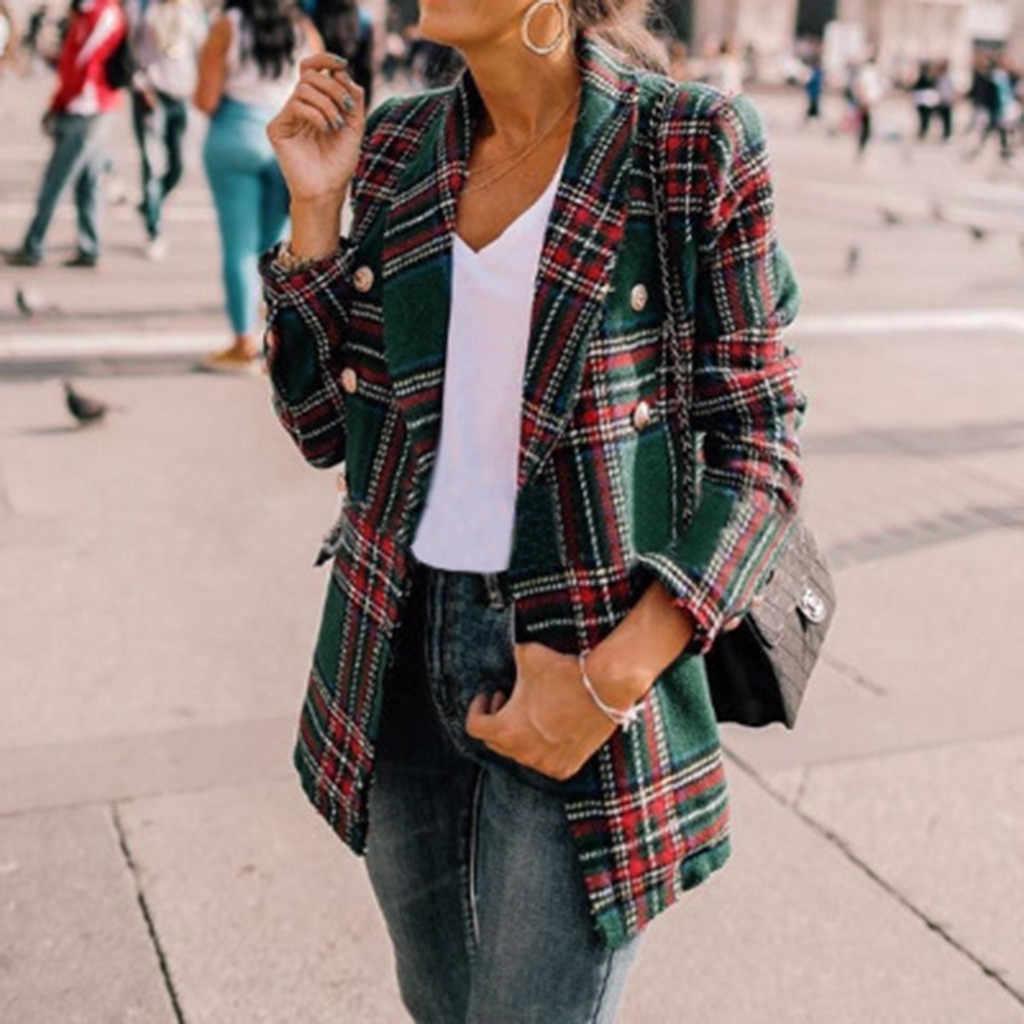 Outono inverno jaqueta feminina xadrez manga longa dupla face casaco longo ponto aberto botão vire para baixo pescoço jaqueta de lã feminina