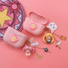 Cute Girl Earphone Case For Sony WF-1000XM3 Shockproof Cover With Key Ring For Sony WF-1000XM3 Cute Earphone Protector Case