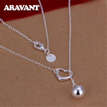 2020 New Arrival Silver 925 Heart Round Bead Long Necklaces Chain For Women Fashion Wedding Jewelry