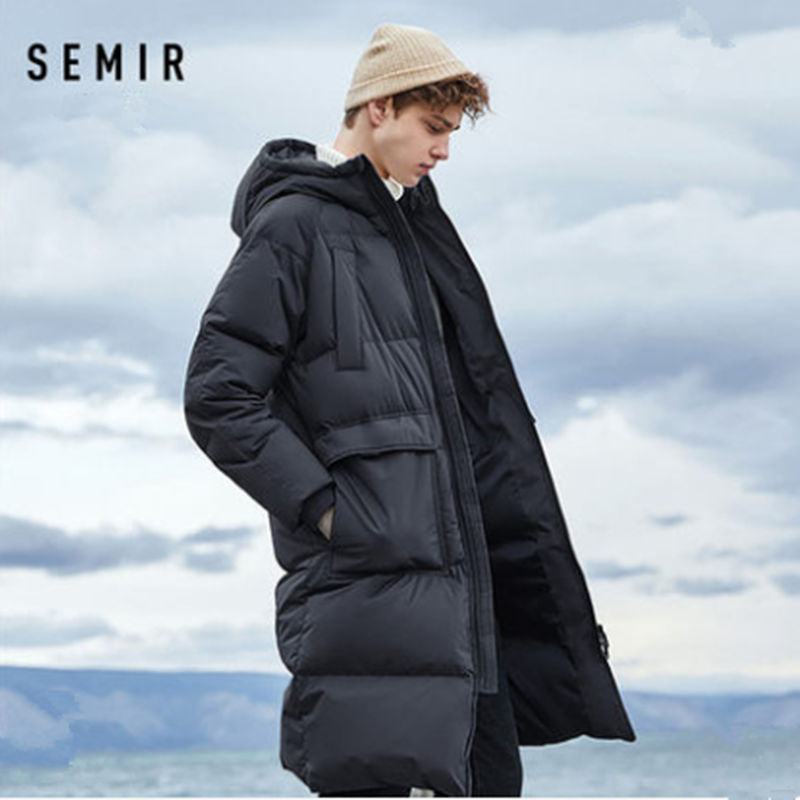 SEMIR Mens Winter Down Jacket Business Long Thick Winter Coat Men Solid Fashion Outerwear Warm Long Coat Man