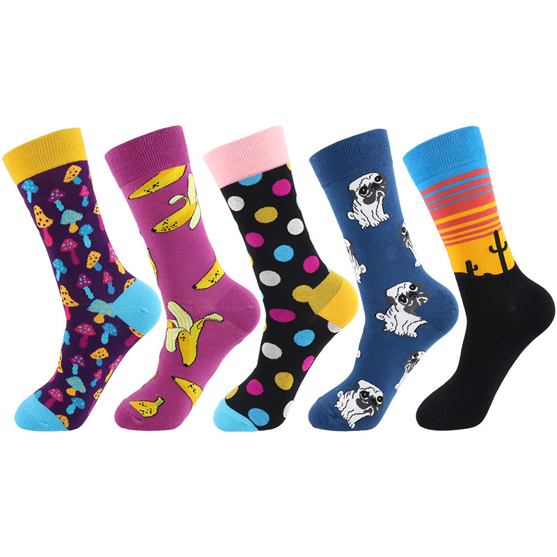 PEONFLY 2020 Newly Men Socks Cotton Casual Personality Design Hip Hop Streetwear Happy Socks Gifts For Men Brand Quality