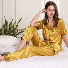 Conjunto de pijamas feminino de cetim, pijamas femininos de manga curta com gola virada para baixo, decoração com bolso, top + calça pijamas de seda falsa