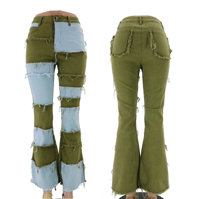 Baggy Jeans 90s Skater Jeans Vliegenverjager Trendy Fashion Patchwork Tight Hip Flare Women's Denim Jeans Taille Haute(China)