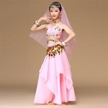 สีชมพู 5pcs เด็กเต้นรำหน้าท้องสีชมพูหญิง Belly Dance เครื่องแต่งกายเด็ก Belly Dance สาว Bollywood อินเดีย Dancewear ชุด
