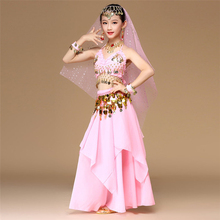 Pink 5pcs Kid Belly Dancing Costume  Pink Girls Belly Dance Costumes Children Belly Dance Girls Bollywood Indian Dancewear Set