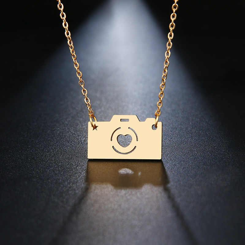 Ze stali nierdzewnej srebrny złoty wisiorek naszyjnik aparat łańcuch urok kobiety mężczyźni kochanka przyjaciół rodziny Party Maxi Choker biżuteria BFF