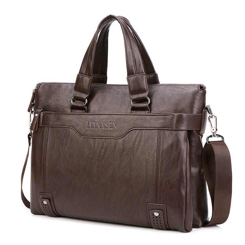 Maletín de piel para hombre, bolsas para portátil de 14 pulgadas, bolsas de hombro de negocios para hombre, maletín informal de alta calidad para oficina