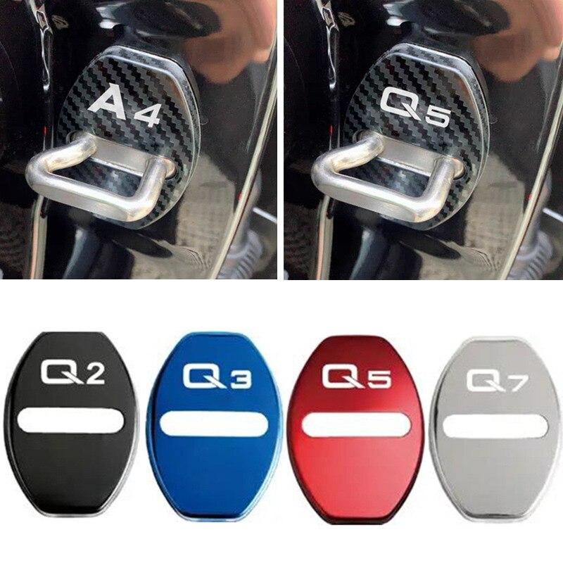 Крышка дверного замка автомобиля декоративный защитный чехол с эмблемой для Audi Q3 Q5 Q7 Q8 Q2 A4 B6 B7 A6 C5 C6 A3 A5 A7 аксессуары для укладки волос