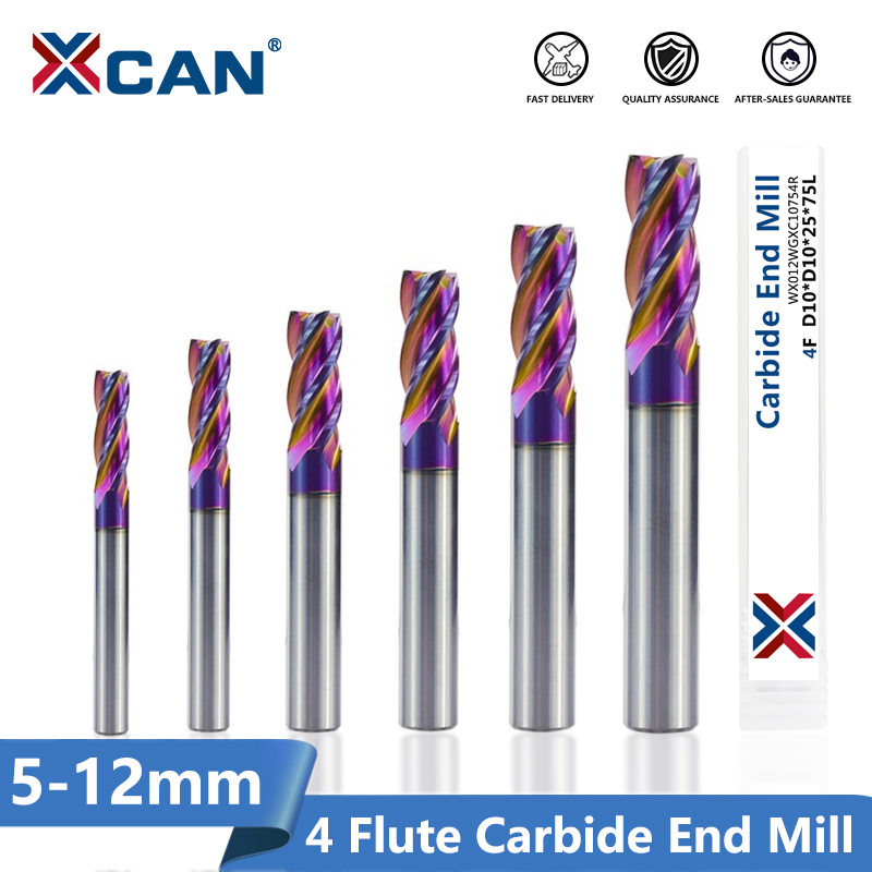 XCAN 1pc ULTRA Surface Tungsten Carbide End Mill HRC 60 4 Flute Spiral End Milling Cutter CNC Router Bit 5/6/8/10/12mm