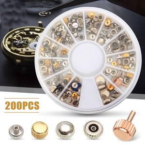200 шт. запасные короны часов, разные модели инструментов для часовщика с коробкой