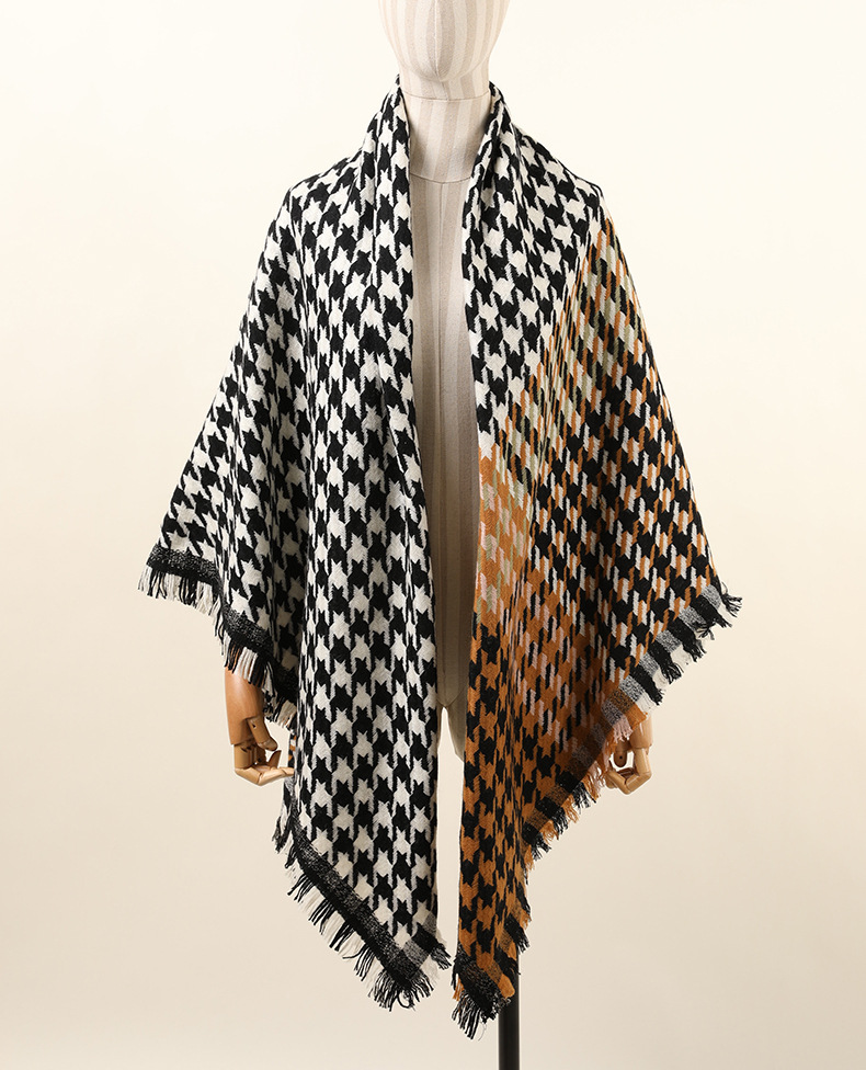 KISS-ME-SILK Classic four sides tassel warm wool scarf thousand-birds-plaid scarf ladies shawl dual-purpose 210*85cm/300g