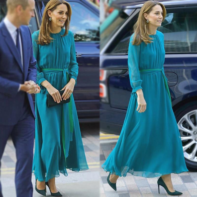 Kate Middleton longue robe de haute qualité nouvelle femme mode lieu de travail fête Sexy Vintage élégant Chic à manches longues robes en mousseline de soie