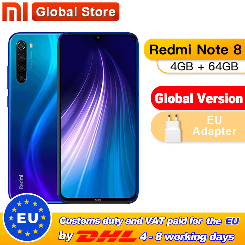 "Global ROM Xiaomi Redmi Note 8 4GB 64GB Snapdragon 665 Octa Core Smartphone 6.3"" 48MP Quad Rear Camera 4000mAh Mobilephone(China)"