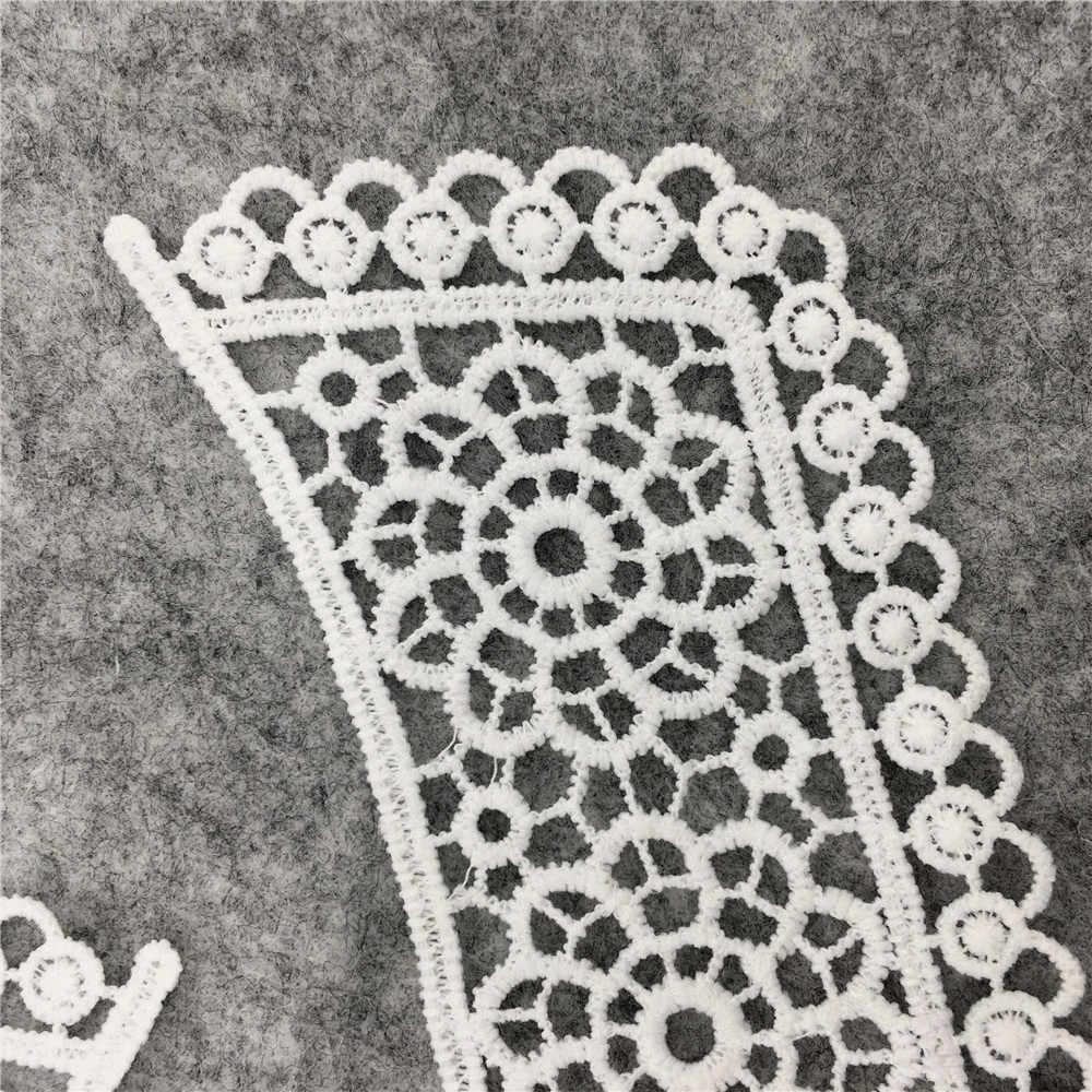 1pcs di vendita Bianco Scava fuori il Fiore Colletto In Pizzo Cucito su Abbigliamento Trim Ricamato Applique Scollo FAI DA TE Accessorio di Abito Da Sposa