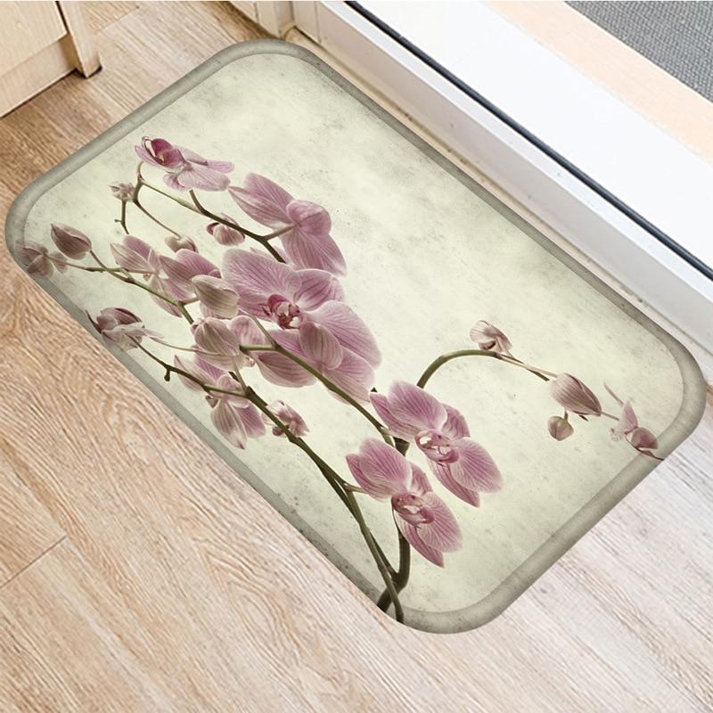 Image 2 - Leaf Flower Pattern Non slip Bedroom Decoration Soft Carpet  Kitchen Floor Living Room Floor Mat Bathroom Non slip Mat 40x60cm   .Rug