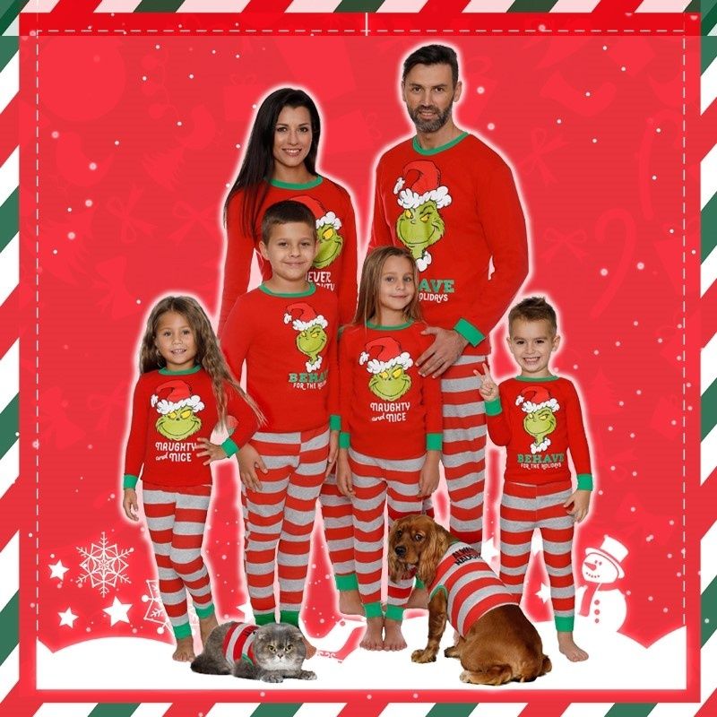 2020 New Fashion  Christmas Family Matching Pajamas Parent-child Suit Home Sleepwear Mother Father Kids Cartoon Print Pajamas