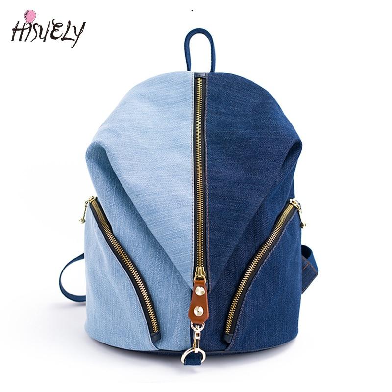 Japanese Denim Women Backpacks School Bags For Teenage Girls Female Quality Travel Backpack Bookbag Mochila Shoulder Bag