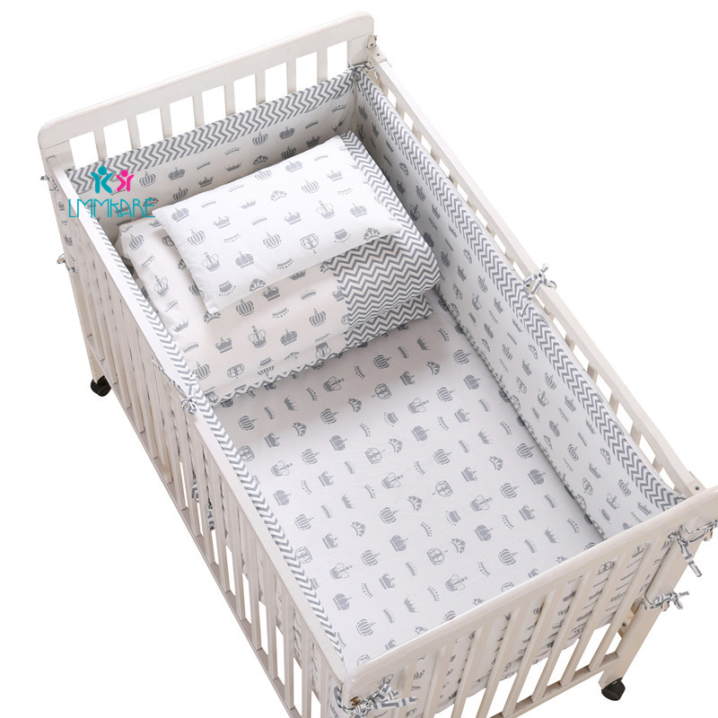 Breathable Cotton Crib Bed Bumper Pad Safe Bumpers For Boys Girls  Protector Baby Washable Bedding Sets Bumpers+Elastic Sheet