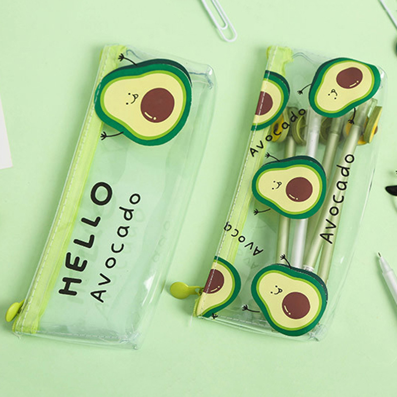 Transparent Cute Avocado Cosmetic Pencil Case Kawaii Mini School Pencil Box Fashion Makeup Portable Large Cosmetic Bag Gift