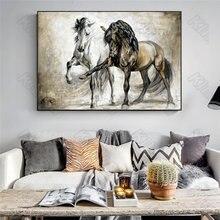 Europa estilo murais cavalo preto e branco cavalo frameles cartaz casa residencial quarto decoração sala de estar pintura da lona