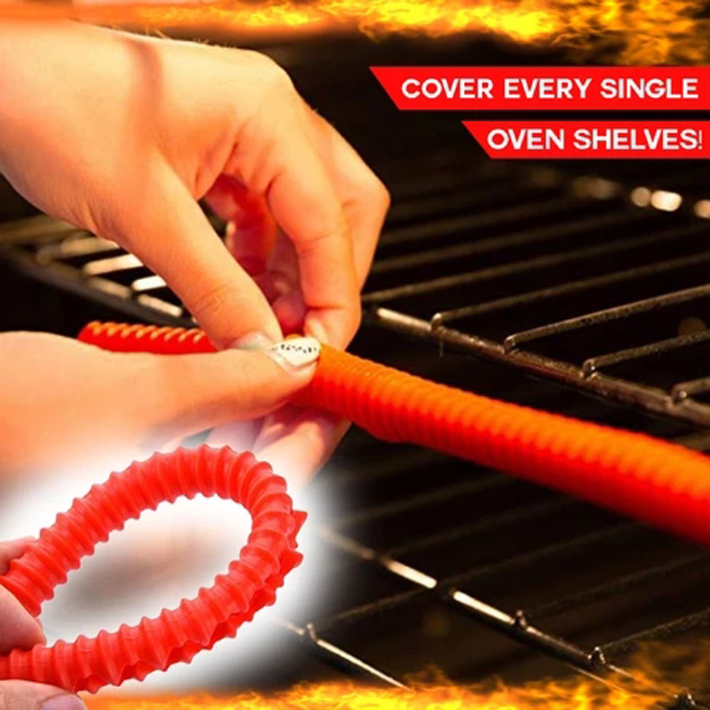 Red Silicone Threaded Heat Resistant Oven Rack Edge Protector Guard Cover Oven Anti-hot Bar Kitchen Dining Bar Supplies #LR1