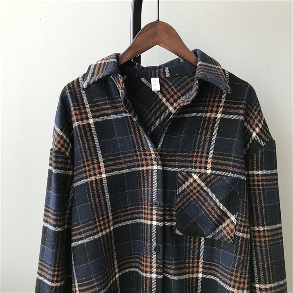 Spring Thick Loose cotton plaid Women blouses shirt 2020 female long sleeve Casual Warm women Blouse shirt office lady top Y0675 (21)