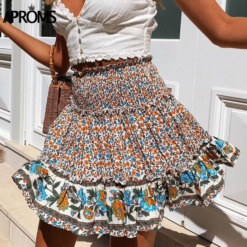 Aproms Bohemian Floral Print High Waist Cotton Skirts Women Summer Ruched Elastic Casual Beach Skirts Female Short Bottoms 2020