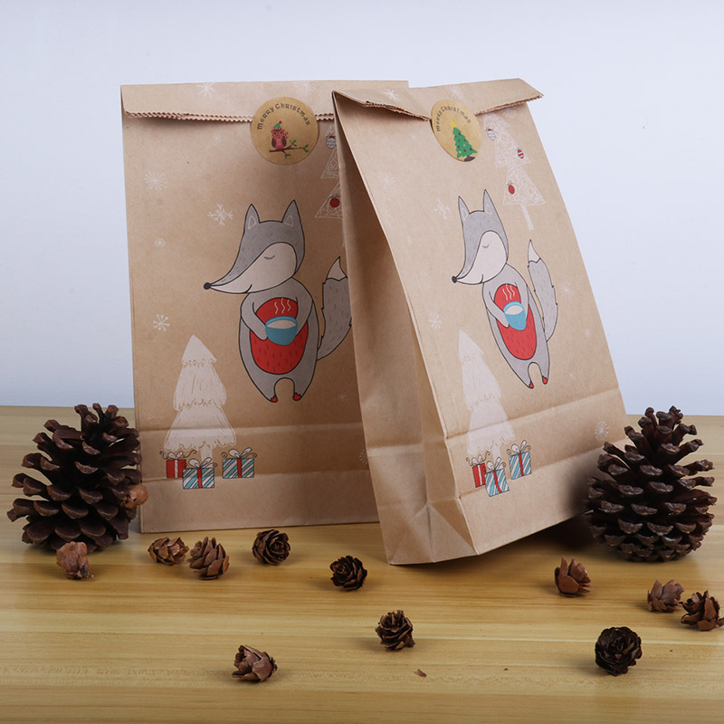 christmas candy cookies bags kraft paper biscuit bag christmas favors decor xmas decorations for home navidad 2020 gift boxes-4