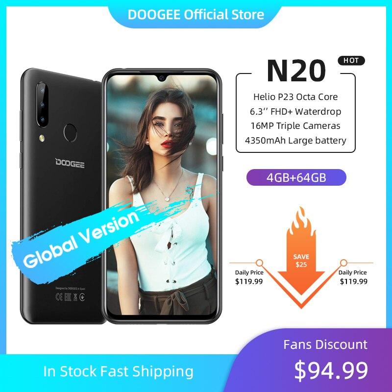 DOOGEE N20 teléfono móvil huella dactilar 6,3 pulgadas FHD + pantalla 16MP Triple cámara trasera 64GB 4GB MT6763 Octa Core 4350mAh teléfono móvil LTE