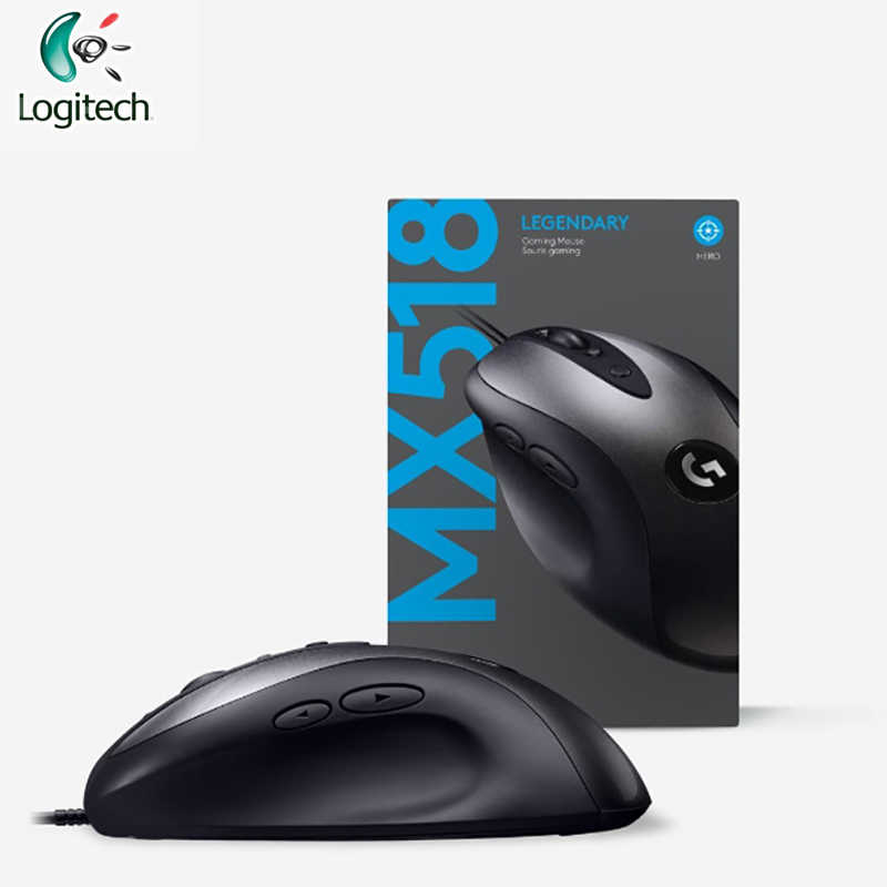 Logitech MX518 legendarna mysz do gier z 100-16000 DPI optyczna mysz do gier wsparcie PC/Mac do laptopa Windows 10