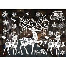 Adhesivo de pared de PVC y cristal para ventana pegatinas de pared de ciudad y nieve, decoración para el hogar, suministros para el hogar, Año Nuevo