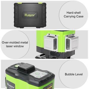 Image 4 - Huepar 3D Self leveling Laser Level 3x360 Green Beam Cross Line 360° Vertical Horizontal Line Remote Control & Hard Carry Case