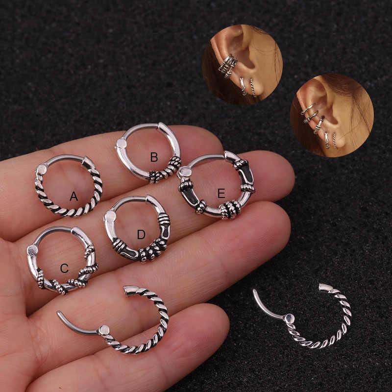 Sellsets 1PC 16G נירוסטה בציר כסף צבע מחץ חישוק האף אוזן פירסינג תכשיטי Helix סחוס Daith צמוד עגיל