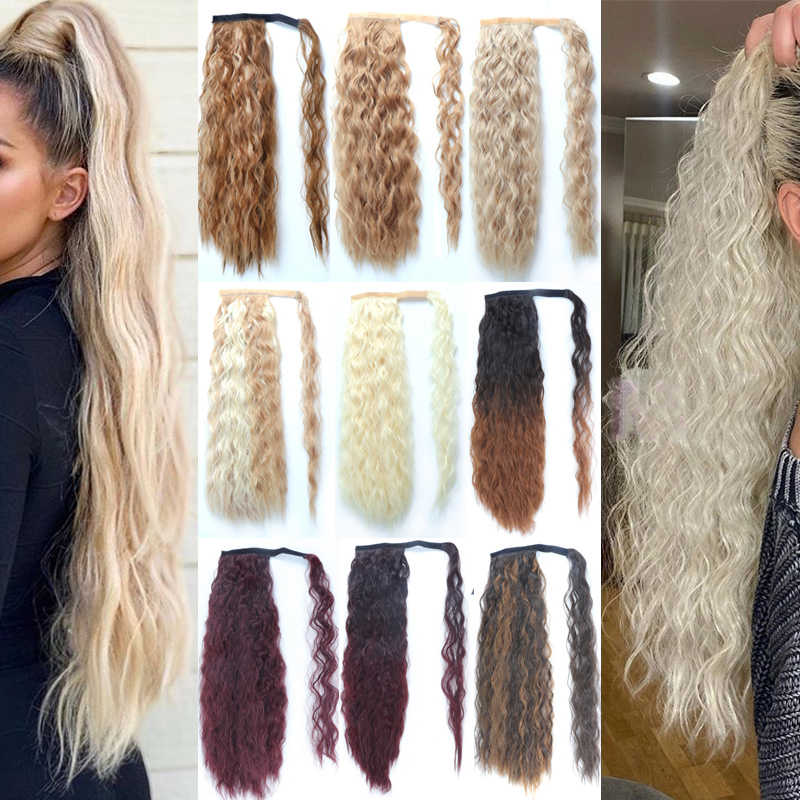 Lisi Haar Lange Golvende Wrap Around Clip In Paardenstaart Hair Extension Hittebestendige Synthetische Natuurlijke Wave Pony Tail Fake Hair